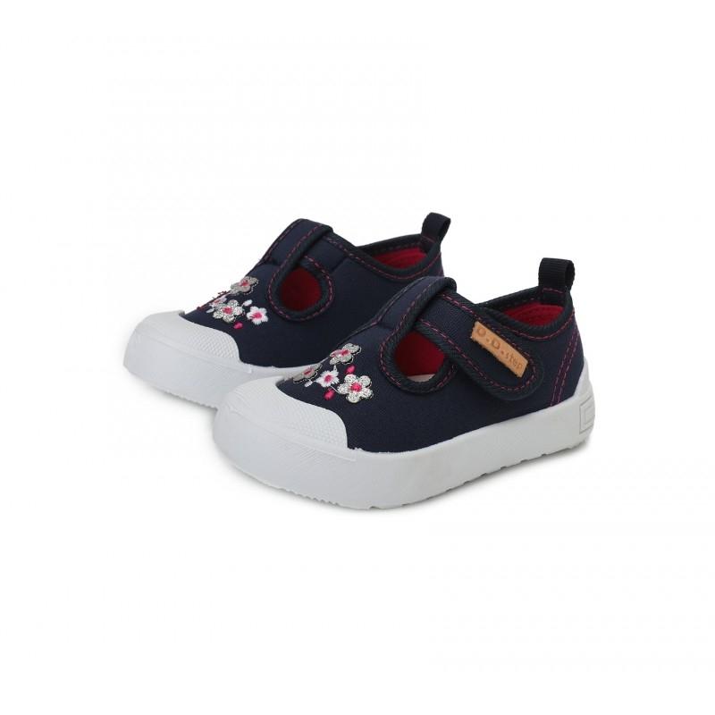 Tekstiilist, kerged jalatsid, tumesinised lillelised suurus 20-22