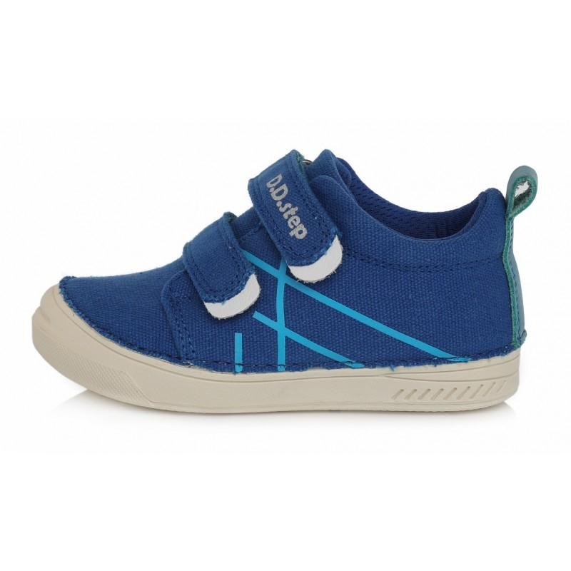 Sinised jalatsid, tekstiilist pealispinnaga, suurused 25 ja 28