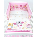 Laste voodipesukomplekt 100x135 (roosad öökullid)