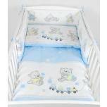 Laste voodipesukomplekt 100x135 cm (sinised karud ja rongid)
