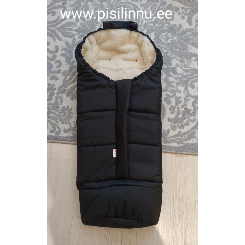 Soojakott, pikendatav, lambavillaga, 110 cm,must