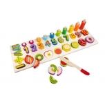 Puidust numbrite ja puuviljade komplekt / tegevuslaud